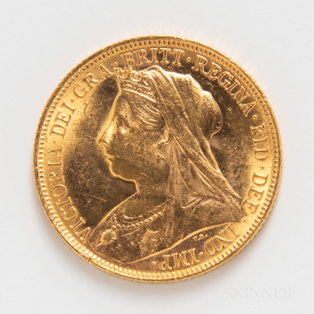 1900-M Australian Gold Sovereign.     Estimate $300-500