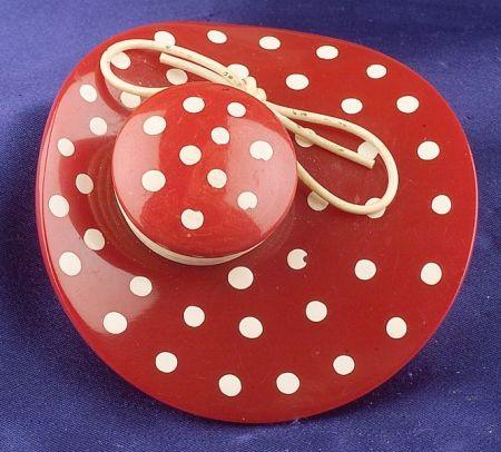 Bakelite Red and Painted Polka Dot Bonnet Brooch