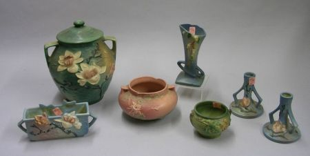 Seven Pieces of Roseville Pottery