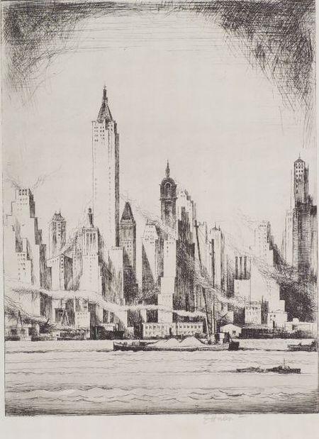 Earl Horter (American, 1881-1940)    New York Waterfront