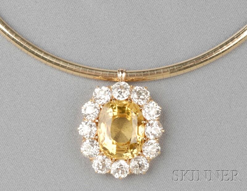 Antique 18kt Gold, Yellow Sapphire, and Diamond Pendant, Tiffany & Co.