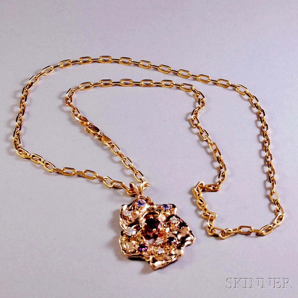 14kt Gold Gem-set Pendant