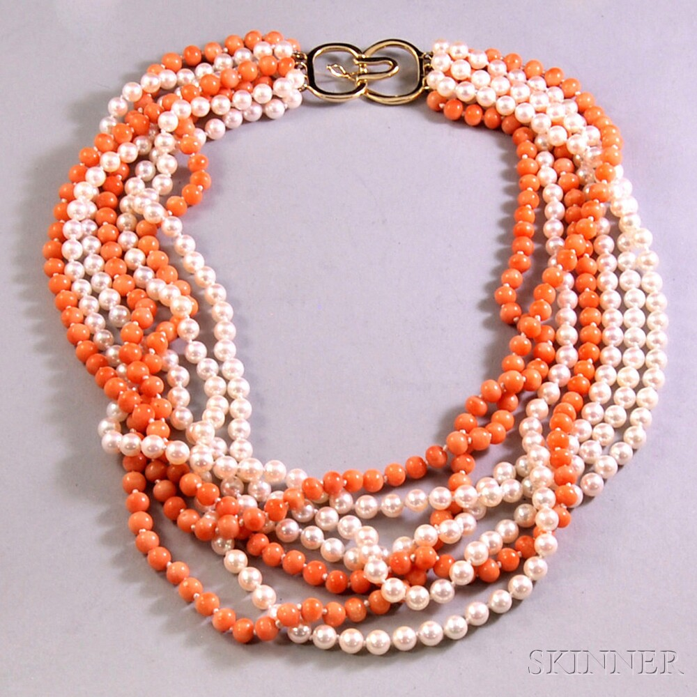 Multi-strand Coral and Cultured Pearl Torsade-style Beaded Necklace
