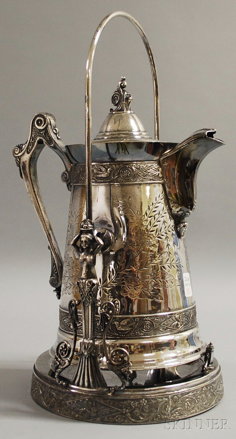 Victorian Aesthetic Movement Presentation Silver-plated Coffeepot on Stand