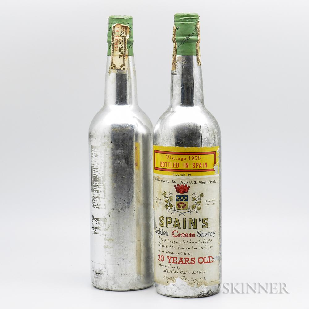 Golden Cream Sherry 30 Years Old 1938, 2 1 pint 8oz bottles