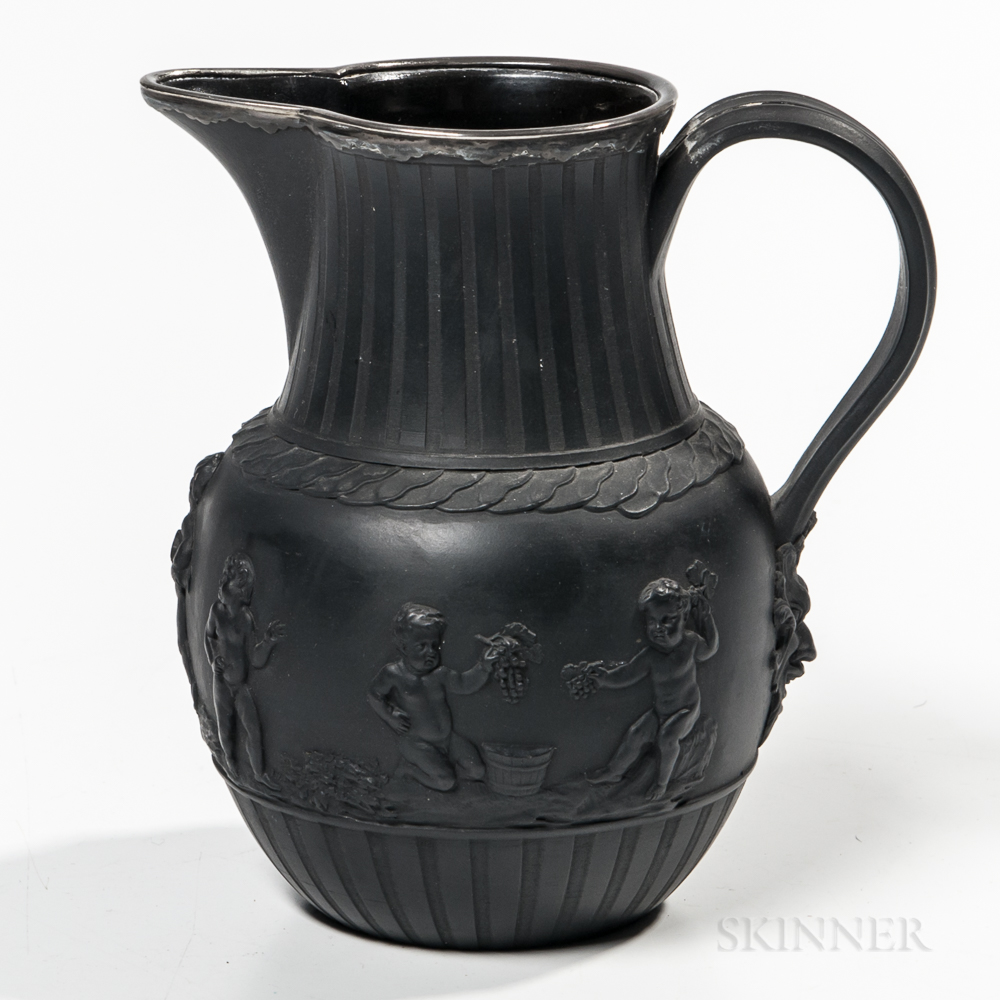 Wedgwood Silver-mounted Black Basalt Jug