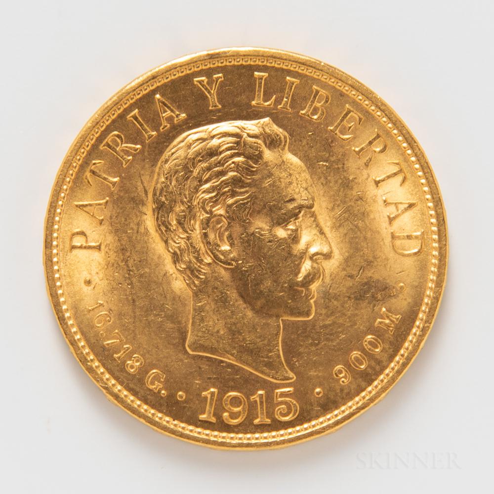 1915 Cuban 10 Pesos Gold Coin.     Estimate $600-800