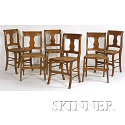 Set of Six Classical Figured Maple Dining Chairs,