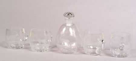 Set of Ten Etched Glass Punch Cups
