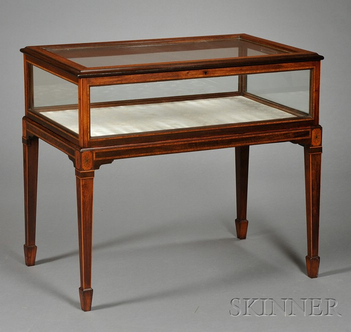 Edwardian Rosewood and Marquetry-inlaid Satinwood Vitrine Table