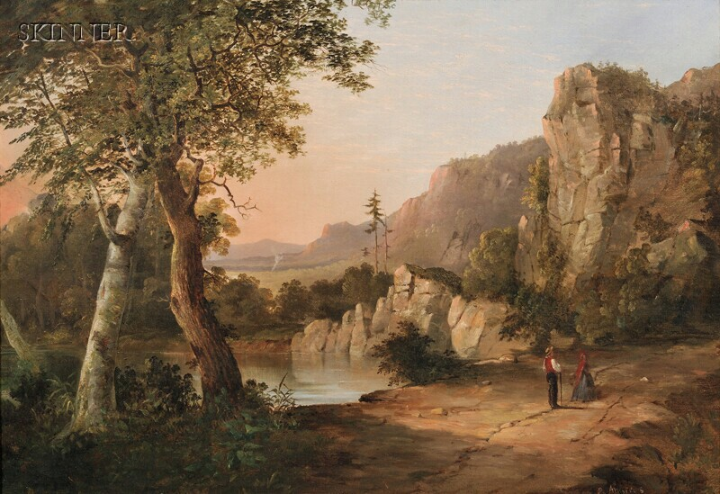 Ambrose Andrews (American, 1805-1859)      Figures by a Mountain Lake
