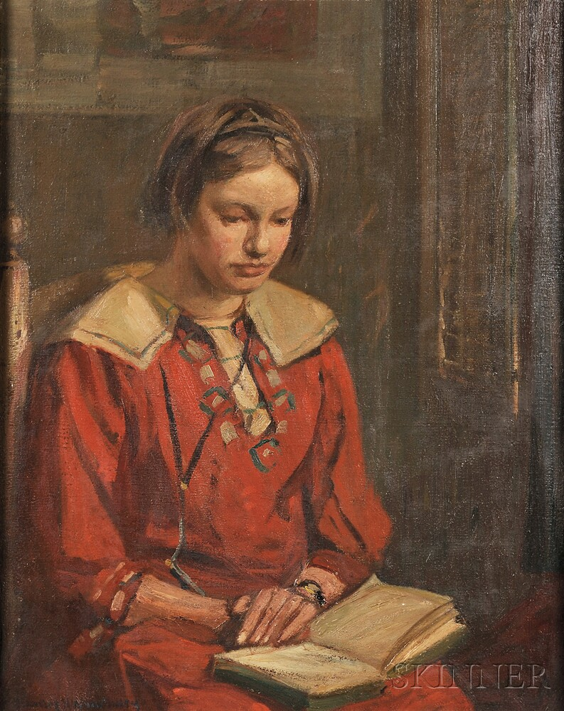 Charles Herbert Woodbury (American, 1864-1940)      Portrait of a Young Woman Reading