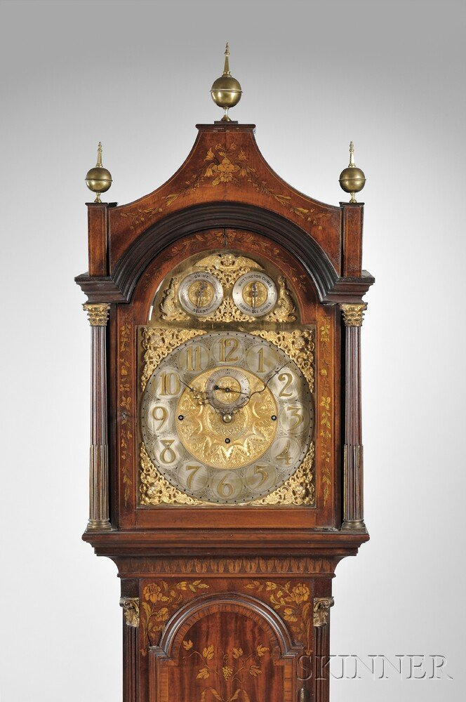 Elaborately Inlaid Mahogany Chime Clock