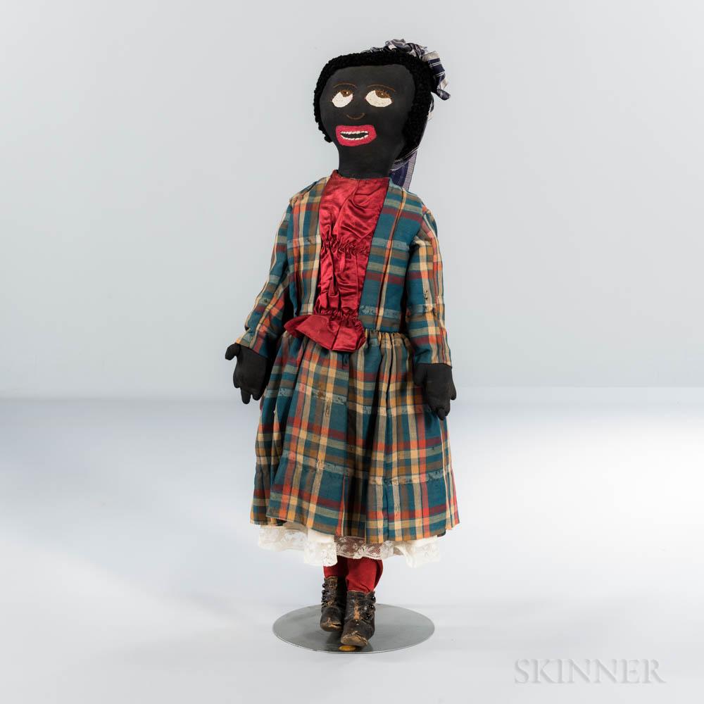 Large Folk Art Black Girl Doll