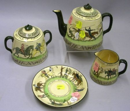 Three-Piece Royal Doulton Series Ware Hastings Bayeux Tapestry Tea Set and a Saucer