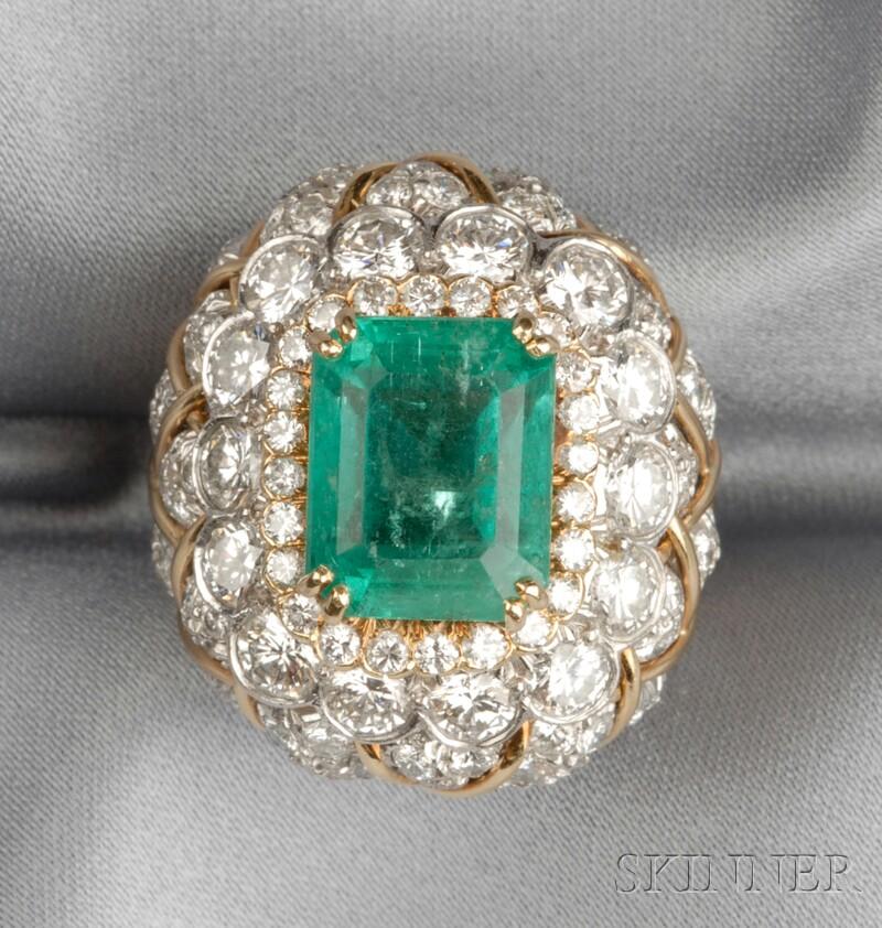 Platinum, 18kt Gold, Emerald, and Diamond Ring, David Webb