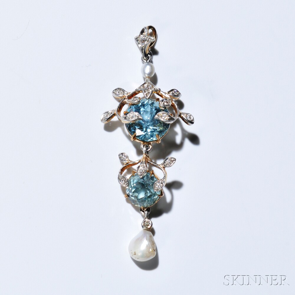 Edwardian 14kt Bicolor Gold, Aquamarine, Diamond, and Pearl Lavaliere