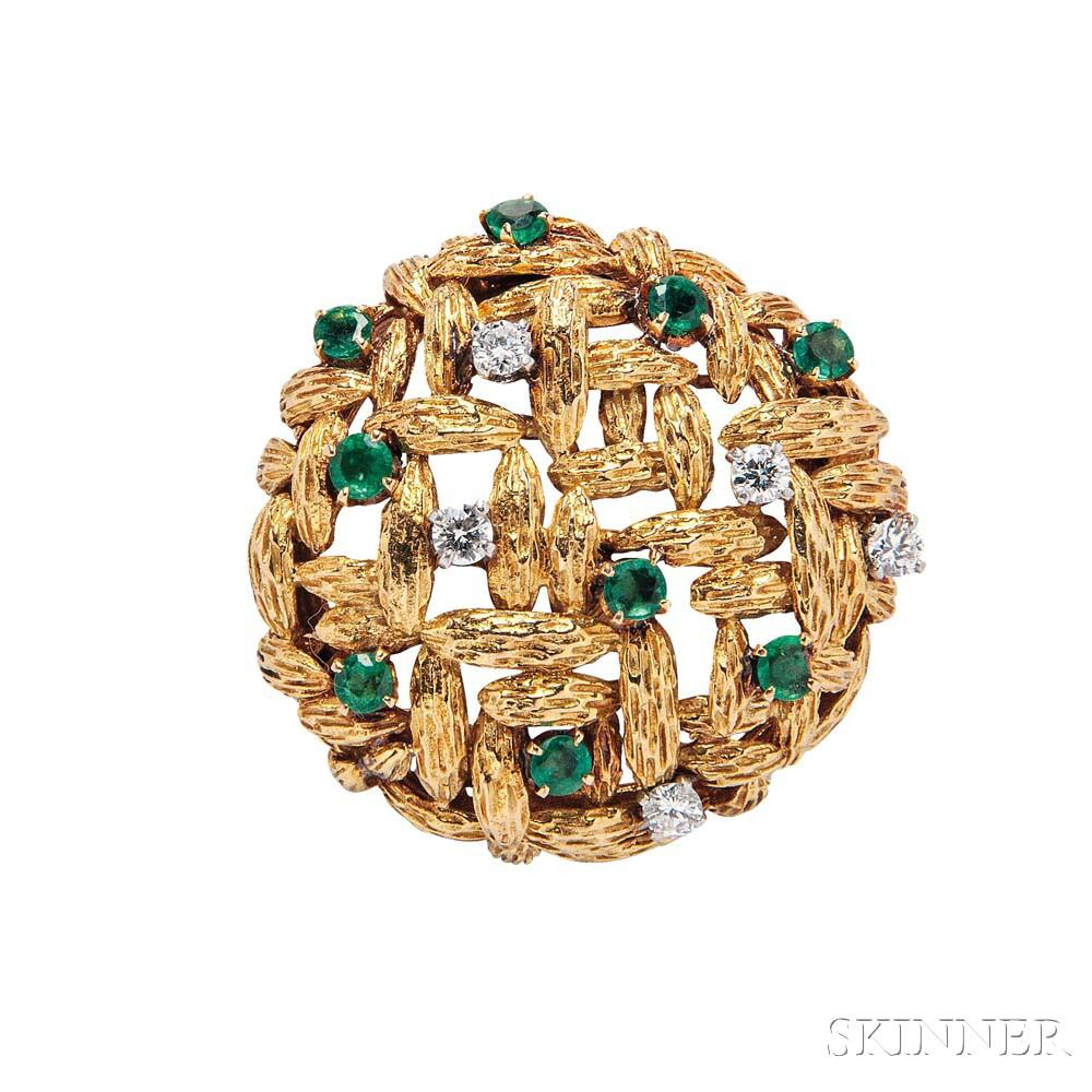 18kt Gold, Diamond, and Emerald Brooch, Mauboussin Paris