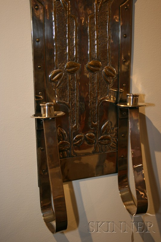 Austrian Secessionist Enameled and Silvered Brass Two-light Wall Sconce