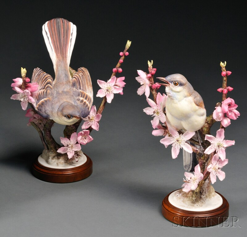 Pair of Dorothy Doughty for Royal Worcester Bone China Mocking-birds