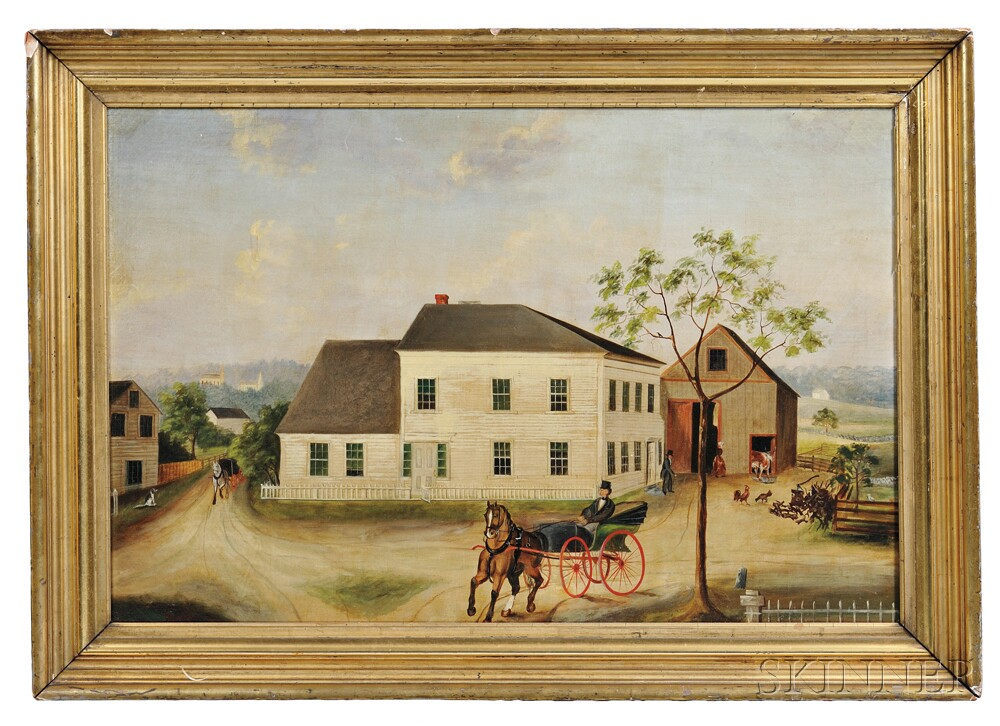 American School, 19th Century      Portrait of a White House and Gray Barn