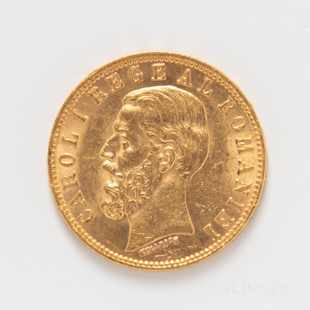 1890 Romanian 20 Lei Gold Coin.     Estimate $300-500