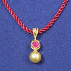 22kt and 18kt Gold, Ruby, and Pearl Pendant Necklace, Zaffiro