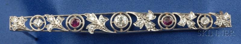 Art Deco Platinum, Ruby, and Diamond Bar Pin