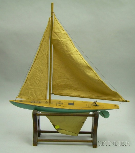 Keystone Toy Painted Wood and Metal Sailboat on Stand