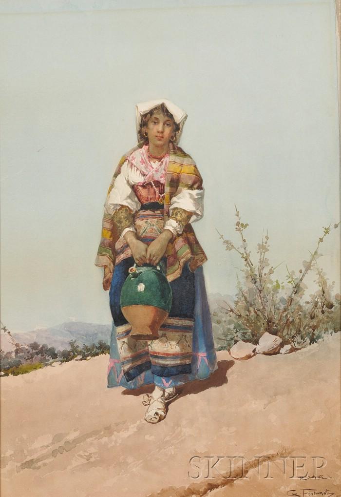 G. Fortunati (Italian, 19th Century)      Italian Peasant Woman Carrying a Water Jug