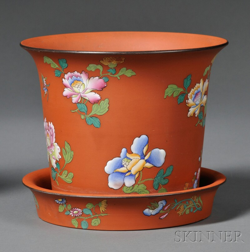 Wedgwood Rosso Antico Cache Pot and Stand