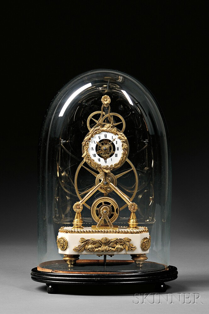Miniature Ormolu and Marble Great Wheel Skeleton Clock