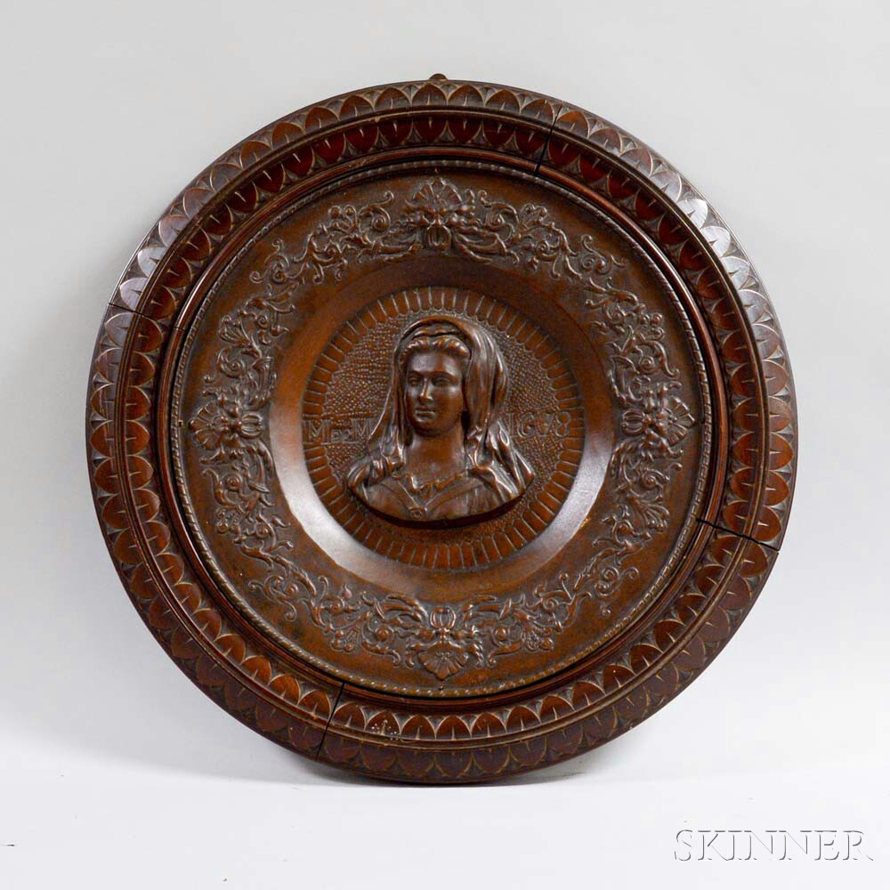 Carved Mahogany and Molded Metal Hanging Portrait Plaque