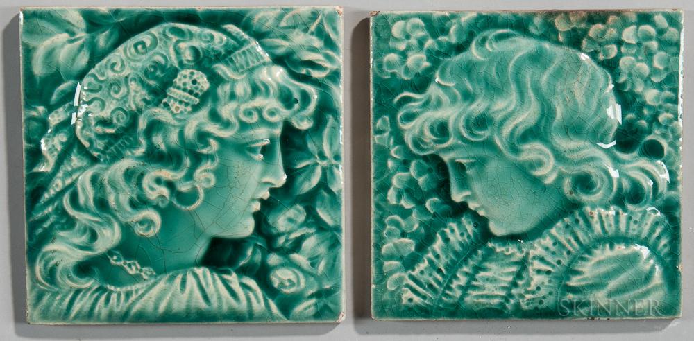 Two Providential Tile Works Art Pottery Tiles