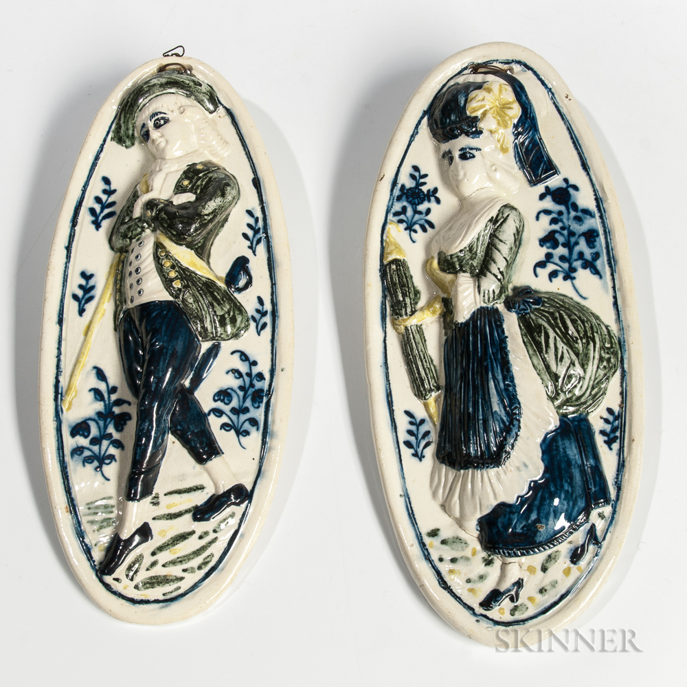 """Pair of Staffordshire Wieldon """"Patricia and her Lover"""" Plaques"""