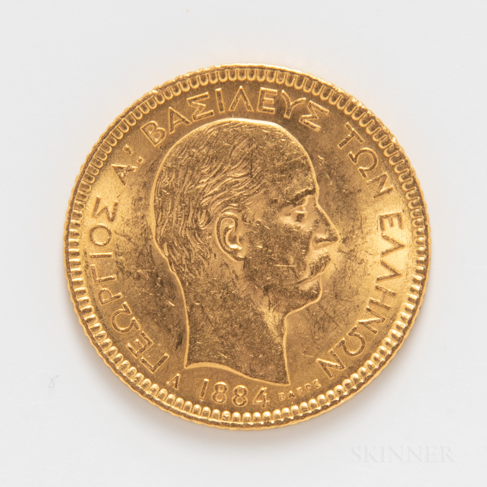 1884 Greek 20 Drachmai Gold Coin.     Estimate $300-500