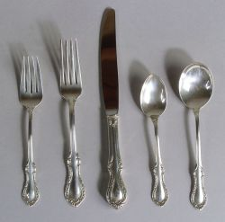 """Fine Art Sterling """"Southern Colonial"""" Flatware Service for Eight"""