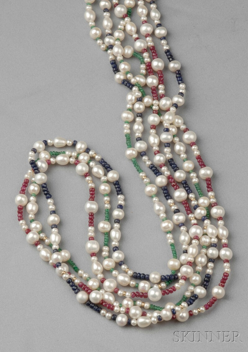 Three Freshwater Pearl and Gemstone Bead Necklaces