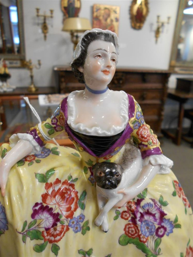 Meissen-style Porcelain Figure of a Woman and Pugs