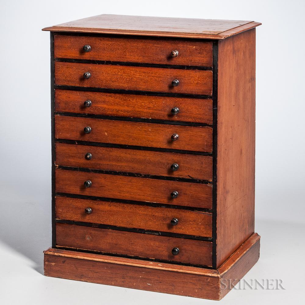 Small Mahogany Part-ebonized Eight-drawer Specimen Chest