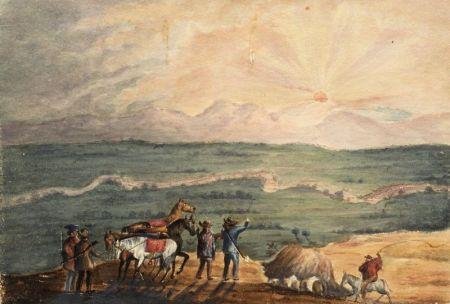 Attributed to Henry Schreiner Stellwagen (American, d. 1866)    Three Watercolor Landscapes.