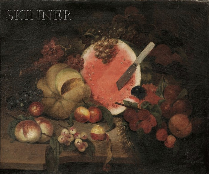 American School, 19th Century      Still Life with Watermelon and Other Fruit