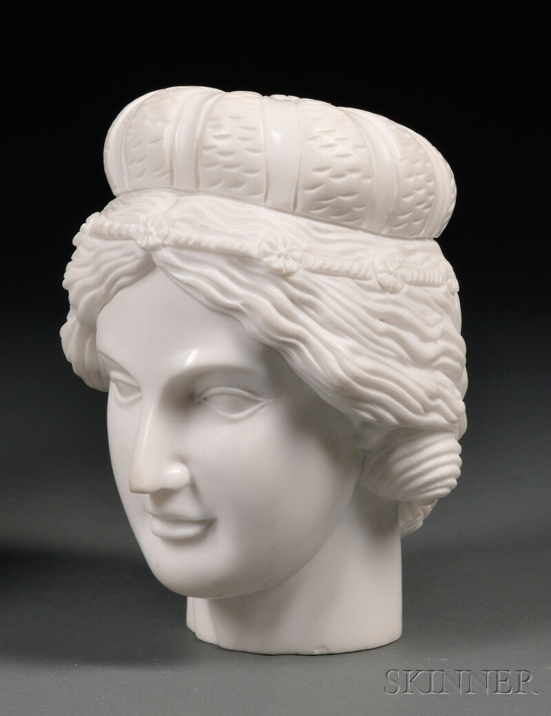 Classical-style Carved Marble Head of a Goddess
