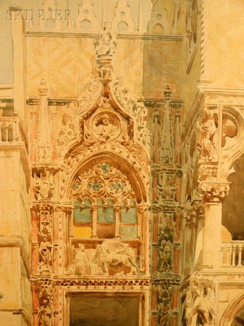 Continental School, 19th Century      A Corner of the Palazzo Ducale
