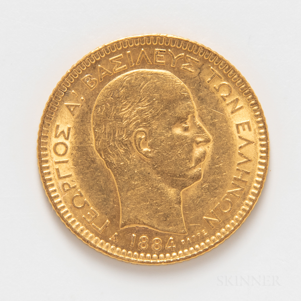 1884 Greek 20 Drachmai Gold Coin.     Estimate $300-500