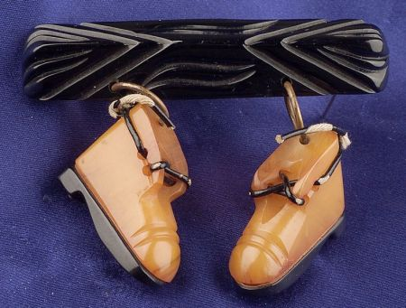 Bakelite Licorice and Butterscotch Boot Brooch