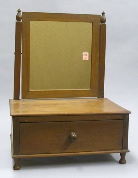 Late Federal Cherry Dressing Mirror on Cabinet.