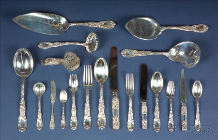 "Tiffany & Co. Sterling ""Chrysanthemum"" Flatware Service For Twelve"