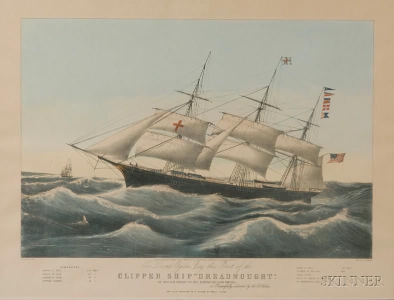 "Framed Lithograph Clipper Ship ""Dreadnaught."" Off Sandy Hook..."