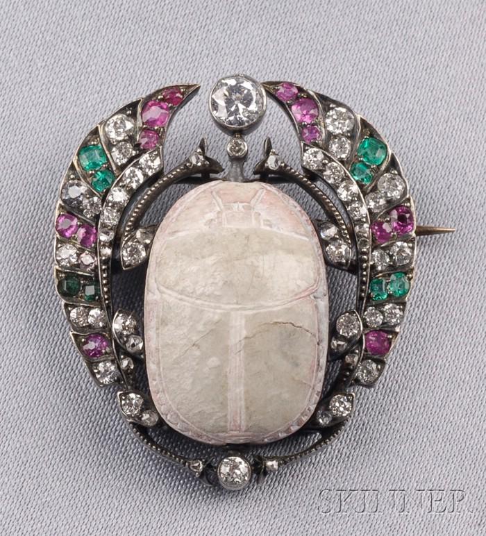 Antique Scarab and Gem-set Brooch